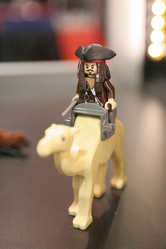 A Jack Sparrow minifig from a possible Pirates of the Caribbean theme