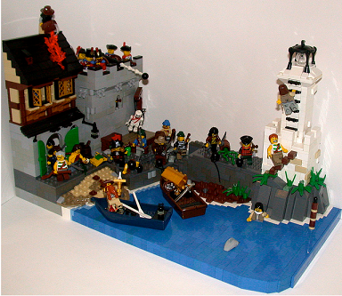 pirates pillage village lighthouse snot water port boats shark war action soldiers