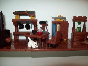 furniture pirates cat piano bookcase shelf sword kitchen table hat rifle gun