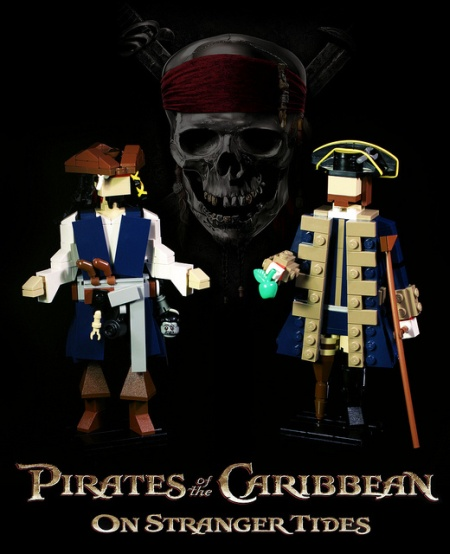 Large, brick-built Pirates of the Caribbean figures made by GeekyTom