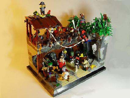 moc pirates bar scene funny pub party legos r2d2 frankenstein joda admiral captain