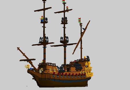 ship galleon lego pirates captain sails masts cannons sea