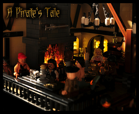 pirate tale moc fireplace tavern cupboard counter logs sea ships