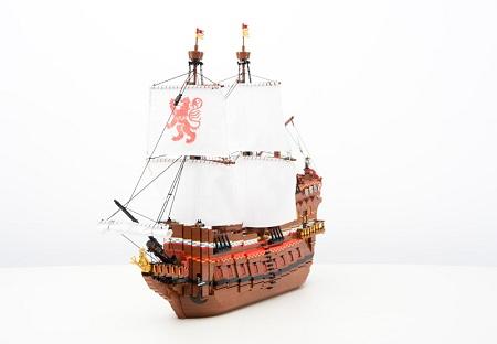 Spanish galleon Santiago cannons sails lion flags decoration ship pirates armada