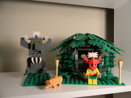 Islander hut and statue