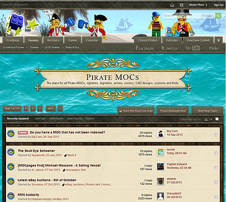 Screen shot of the new LEGO Pirates Forum Skin