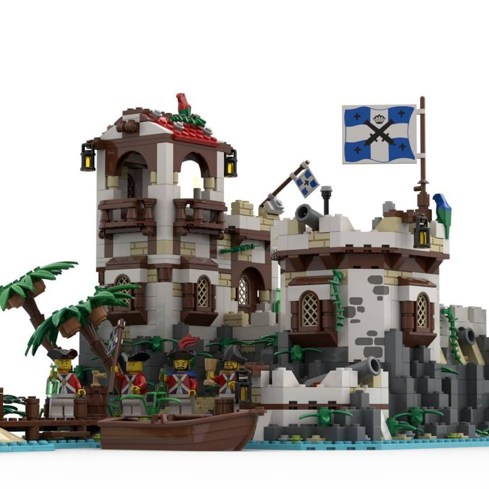 """Render of """"Imperial Island Fort"""" - Celebrations out front"""