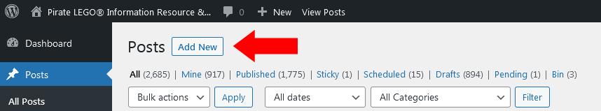 Screenshot - WordPress - All Posts - Add New Button