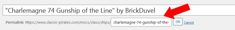 Screenshot of WordPress - Post-Slug - Edit Mode