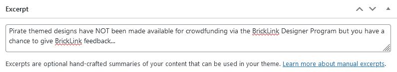Screent shot of WordPress - Post - Excerpt