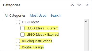 Screenshot of WordPress - Post - Categories - LEGO Ideas