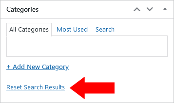 Screenshot of WordPress - Post - Categories -Search - No Results