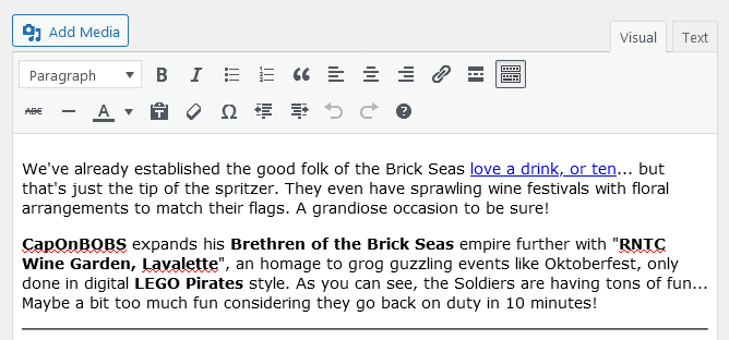 Screenshot of WordPress - Post - Content - Introduction