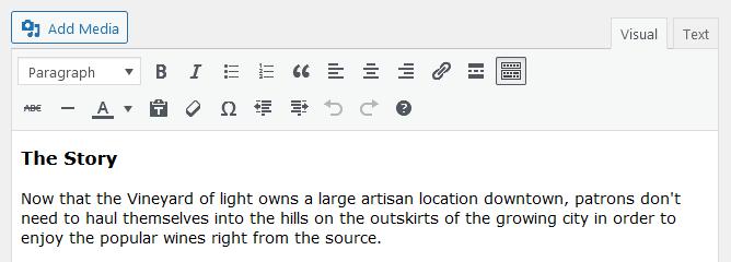Screenshot of WordPress - Post - Content - The Story