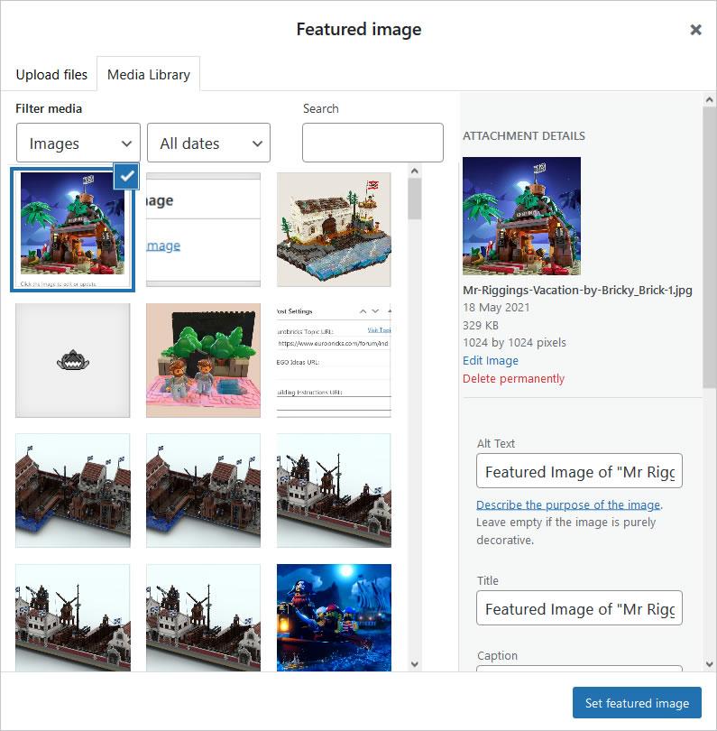 Screenshot of WordPress - Post - Set Featured Image - Attachment Details