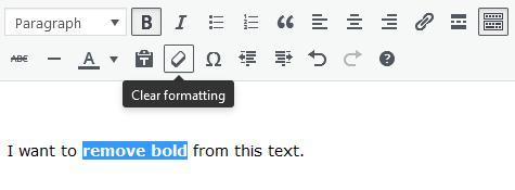 Screenshot of WordPress - Post - Content - Toolbar -Clear Formatting
