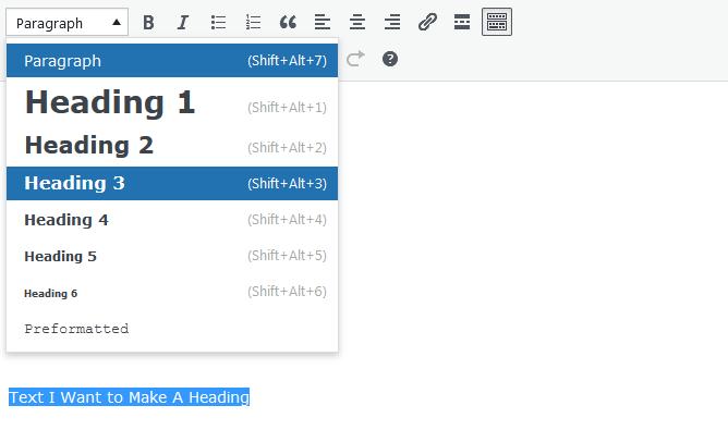 Screenshot of WordPress - Post - Content - Toolbar - Headings