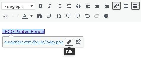 Screenshot of WordPress - Post - Content - Hyperlink - Edit