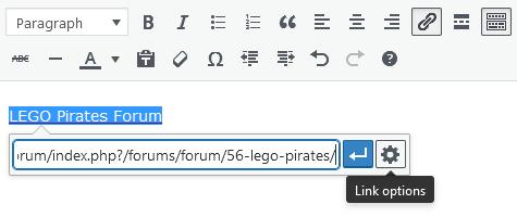 Screenshot of WordPress - Post - Content-Toolbar - Hyperlink - External