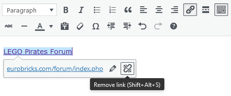Screenshot of WordPress - Post - Content -Toolbar - Hyperlink - Remove
