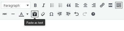 Screenshot of WordPress - Post - Content - Toolbar - Paste as Text