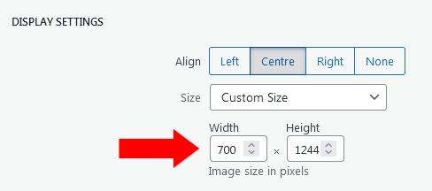 Screenshot of WordPress - Post - Image Details - Display Settings - Custom Size